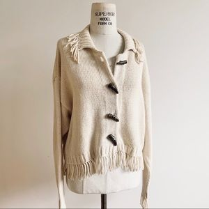 Vintage 90s Ivory Fringed Cardigan Sweater